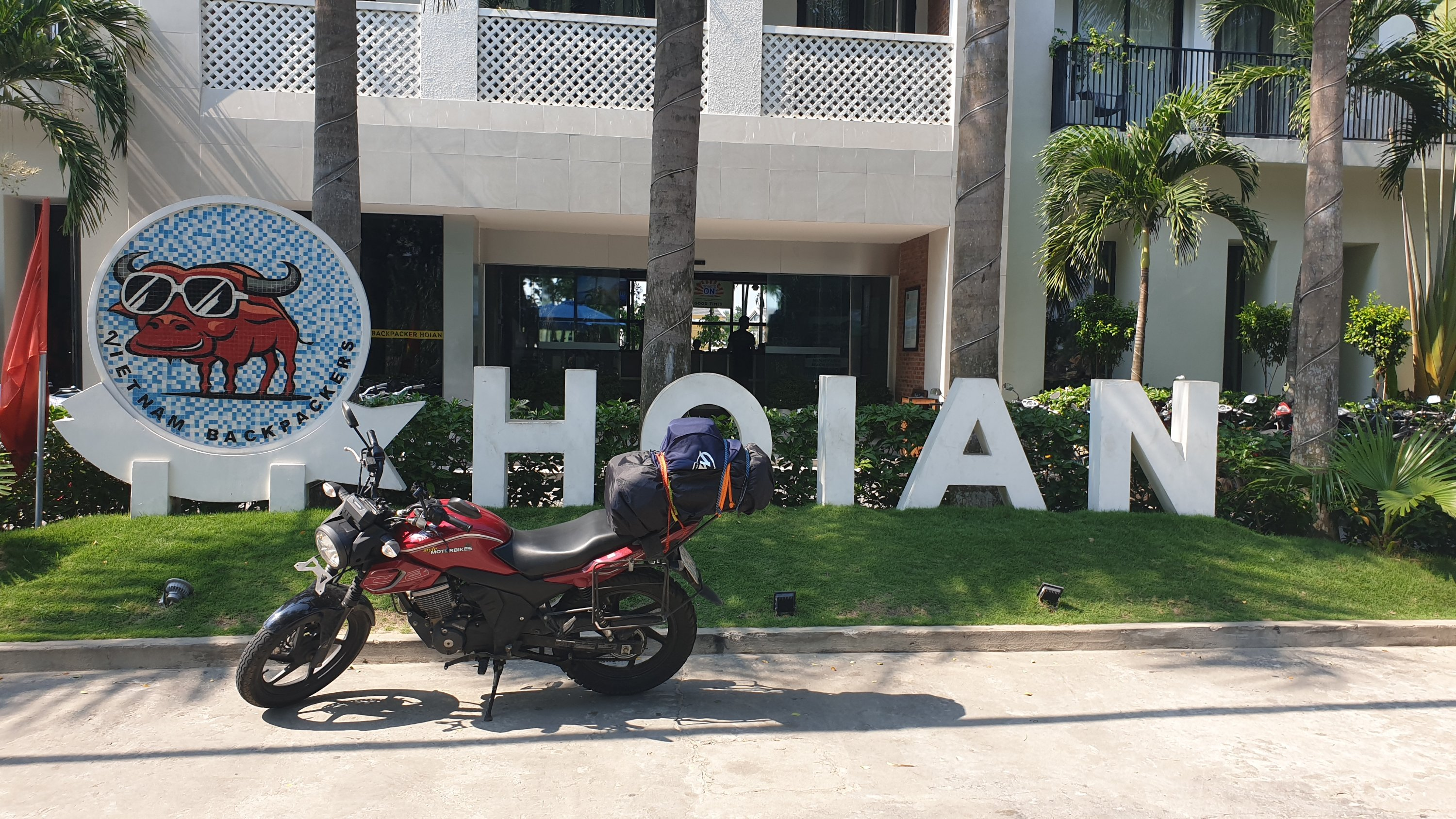 Bike in front of Hoi An sign