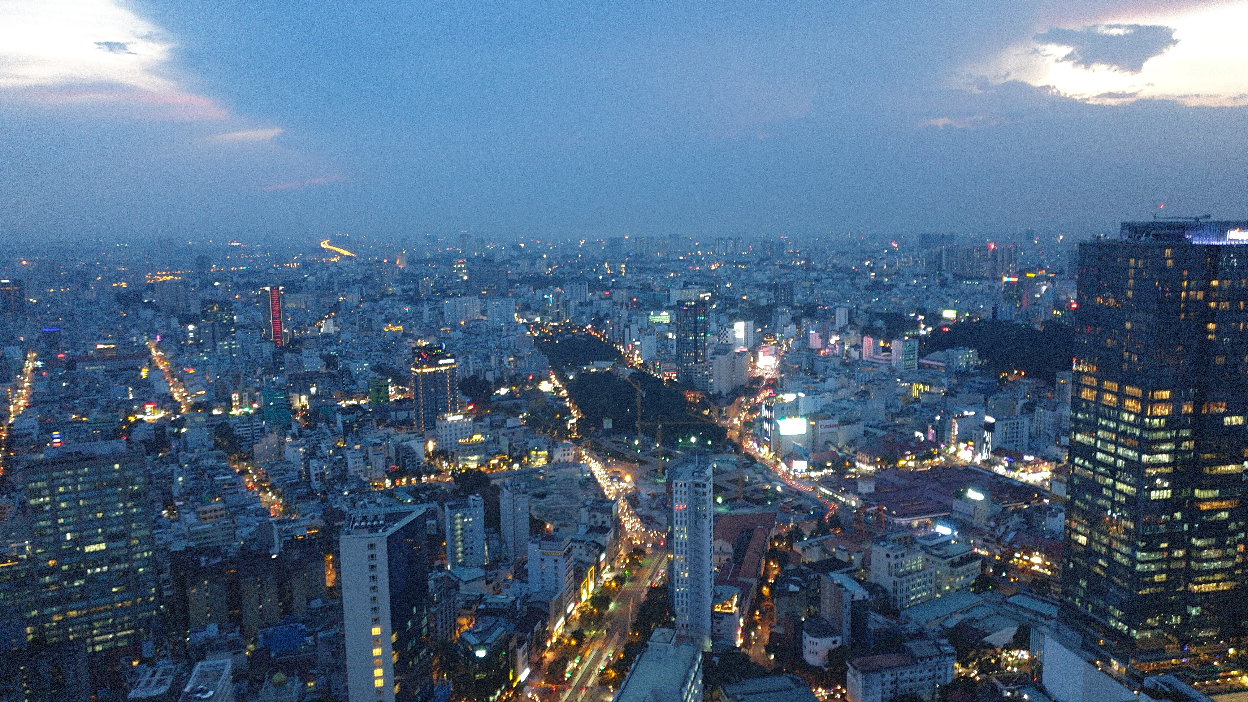 Saigon from above at sunset