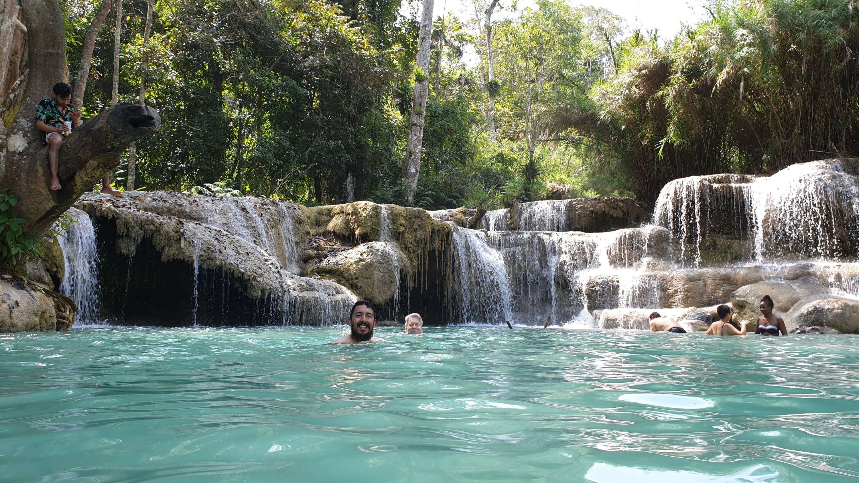 Swimming at Kuang Si Falls