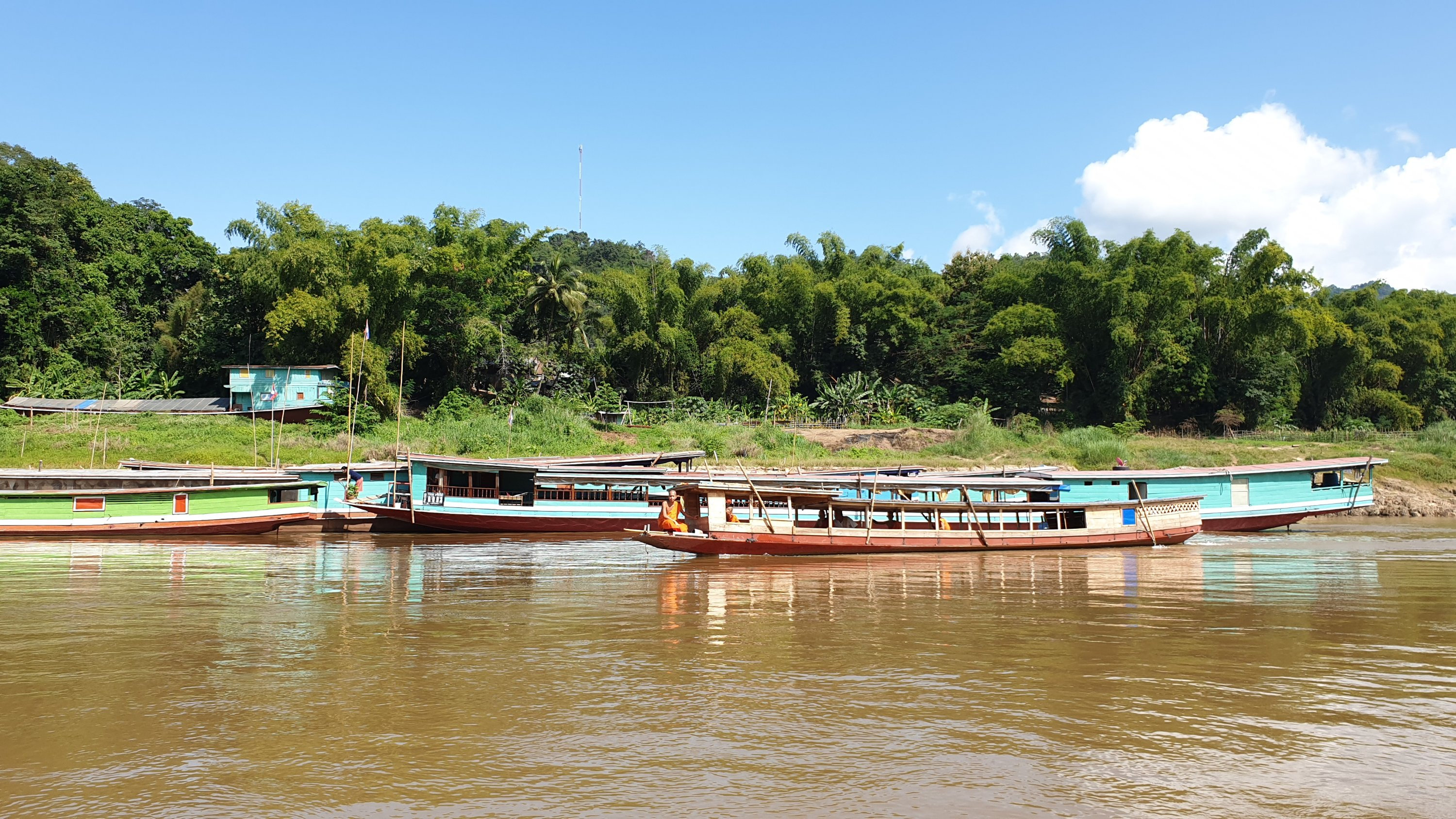 Slow boats on the Mekong River in Laos