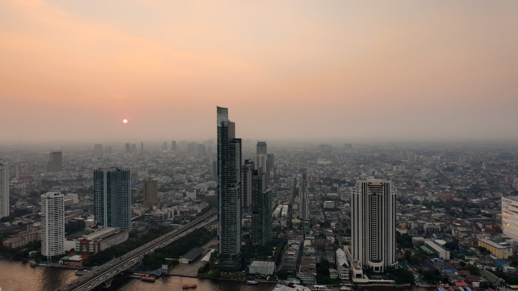 Air pollution over Bangkok at sunset